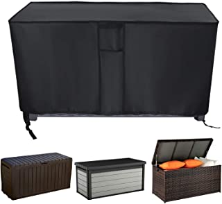 Iptienda Patio Deck Box Cover,Medium Outdoor Waterproof Storage Container Bin Ottoman Bench Cover,All-Weather Protection F...