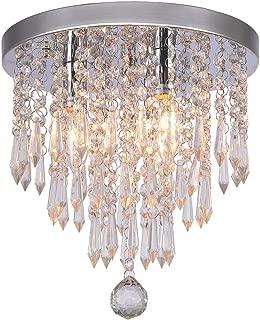Hile Lighting KU300107 Crystal Chandeliers Flush Mount Ceiling Light Lamp,Diameter 11.0 Inch Height 11.8 Inch, 3 Lights