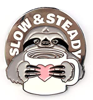 Slow and Steady Sloth and Coffee - Collectable Enamel Lapel Pin