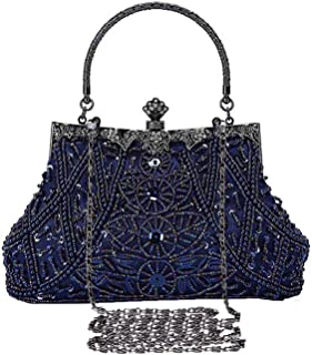 Selighting 1920s Vintage Beaded Clutch Evening Bags for Women Formal Bridal Wedding Clutch Purse Prom Cocktail Party Handbags