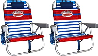 2 Tommy Bahama Backpack Cooler Chair with Storage Pouch and Towel Bar (Red/White/Blue & Red/White/Blue)
