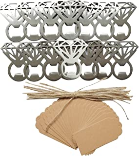 20pcs Vintage Diamond Bottle Openers with Tag Card Wedding Favors