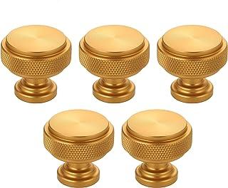 مقابض الخزانة درج الخزانة تسحب ومقبض قطر 1-1/5 بوصة مقابض ذهبية للمطبخ خزانة باب خزينة الأجهزة (5 حزم) Zhongzhen