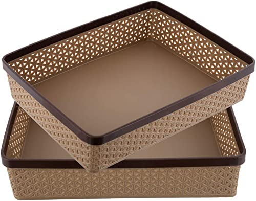 Kuber Industries Plastic 2 Pieces Solitaire Stationary Office Tray, File Tray, Document Tray, Paper Tray A4 Documents...