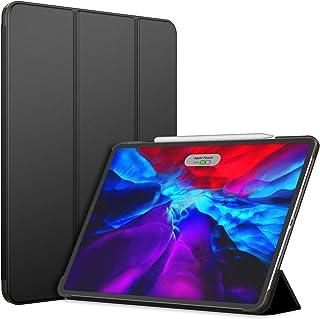 JEDirect iPad Pro 12.9 ケース (2020モデル、第4世代) 三つ折スタンド オートウェイクアップ/スリープ機能 (ブラック)