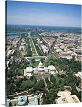 Aerial View of Buildings in a City, Washington DC Canvas Wall Art Print, 24