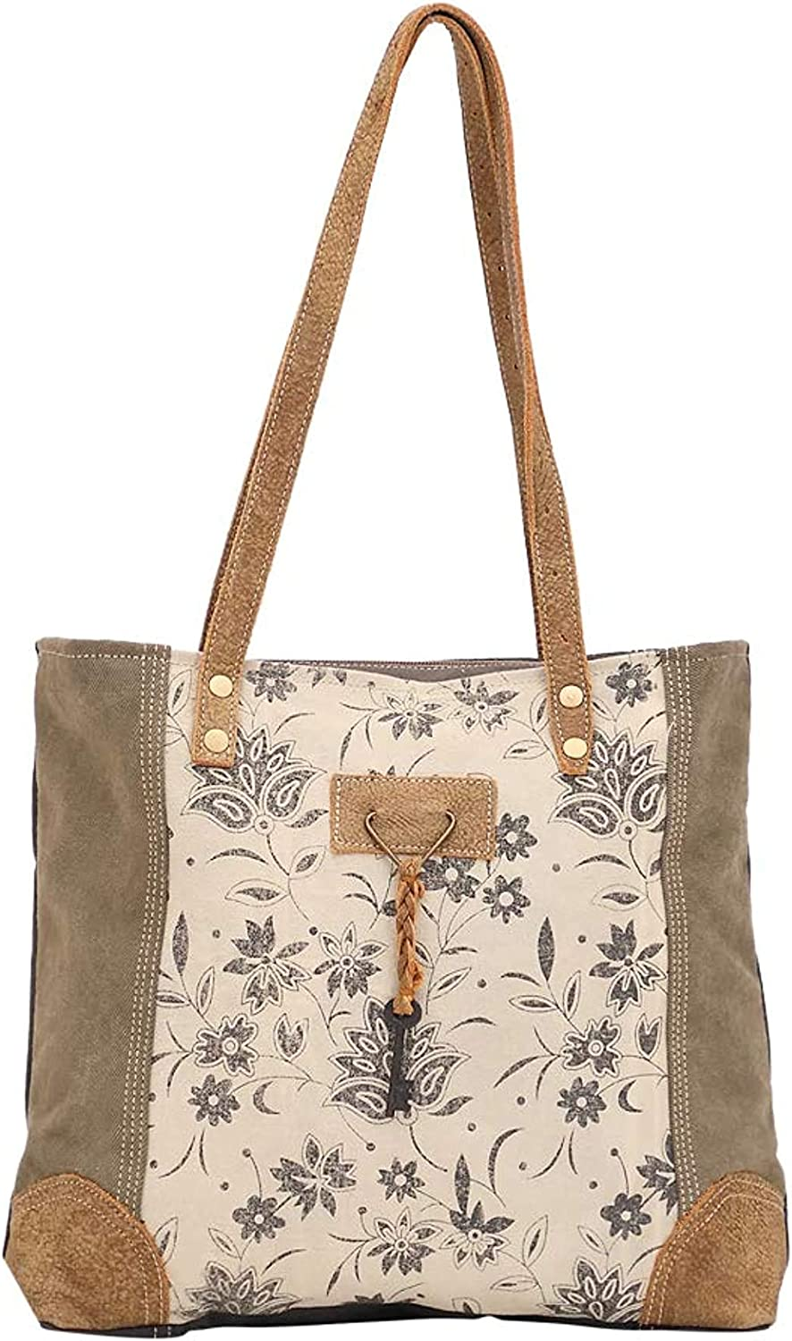Myra Soldering Bag All items free shipping Unique Key Upcycled S-1522 Canvas Cowhide B Tote