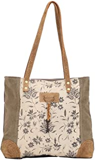 Myra Bag Unique Key Upcycled Canvas & Cowhide Tote Bag S-1522, Brown,