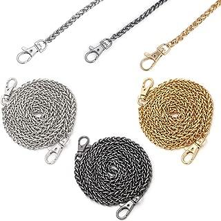 Handbag Chains 3 Pack, Luxiv Women 3 Colors Purse Chains Shoulder Cross Body Bag Chain 47'' Metal Handbag Sliver Chain, Black Chain, Gold Chain Replacement Straps Chain (Three Color)