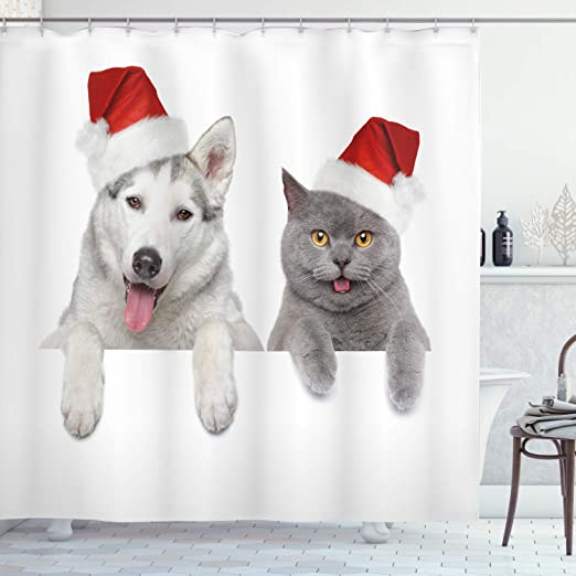 New Christmas holiday Perva Shower Curtain Multiple designs Cat Dog Tree Truck
