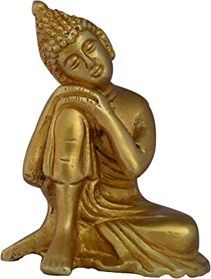 Religious Brass Lord Buddha Resting Statue in Yellow