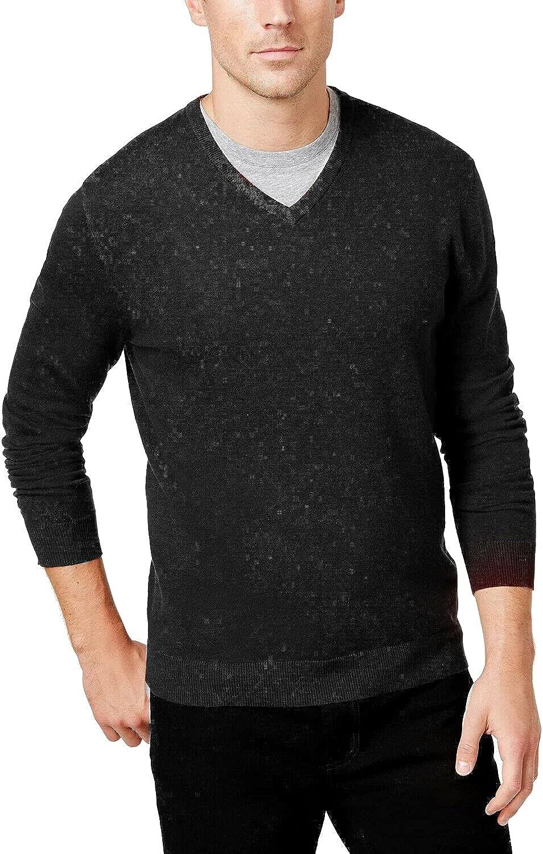 Alfani Mens Sweater Medium 67% OFF of fixed price V-Neck Max 51% OFF Knit Black Solid Pullover M