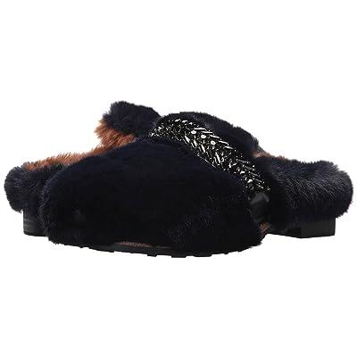 Suecomma Bonnie Jewel Ornament Faux Fur Sandals (Navy) Women
