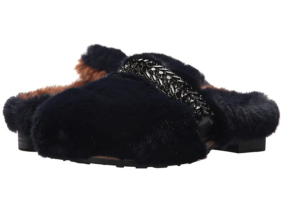 Suecomma Bonnie Jewel Ornament Faux Fur Sandals (Navy) Women