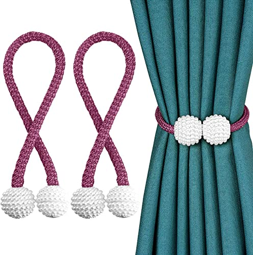 Ad Fresh 1 Pair Magnetic Curtain tiebacks Clips Door Window tie Backs Holders for Home Office Window Decorative Rope holdbacks Classic tiebacks Pearl Design Purple