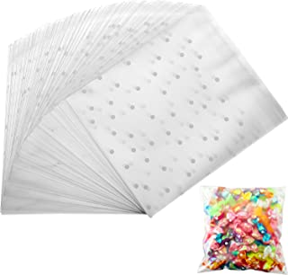 Self Adhesive Treat Bag Cookie Bags Party Favor Bag White Polka Dot Chocolate Candy Gift Bags (5.5 x 5.5 Inches, 300 Pieces)