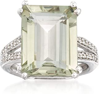 Ross-Simons 11.00 Carat Green Prasiolite and .10 ct. t.w. White Topaz Ring in Sterling Silver