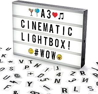 Cosi Home ™ - Caja de luz LED en formato A3 con letras, Emoji, emoticonos y símbolos para mensajes personalizados. Alimentado por batería y USB
