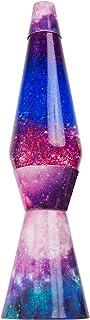 Fisura LT0760 Lámpara de Lava Original y Pequeña de Metal con Líquido Transparente Magma Azul con un Diseño de Efecto Galaxia Multicolor de Colores Púrpura Morado, 40 cm de alto
