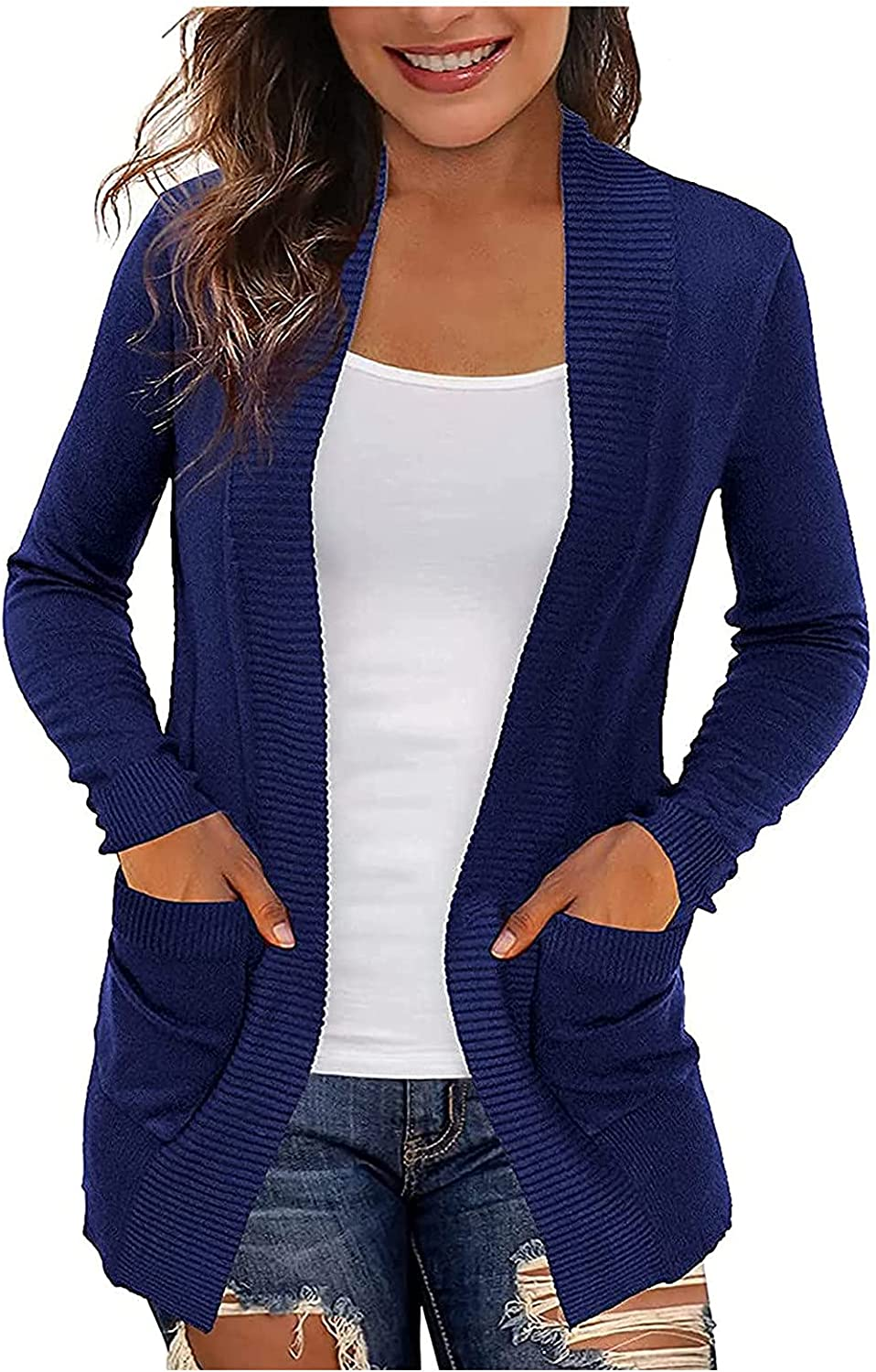 Xinantime Womens Plus Size Sweaters Cardigans Lightweight with Pockets Solid Color Open Front Ladies Long Sleeve Tops