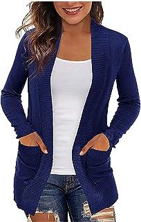 Cloodut Strickjacke V Ausschnitt Damen Pullover Einfarbig Cardigan Winter Herbst Pullover Mantel Offener Strick Langarm Ba...