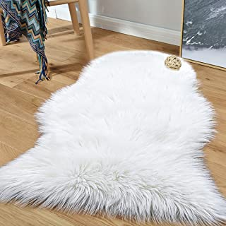 Noahas Luxury Fluffy Rugs Sheepskin Sofa Chair Cover Seat Pads Shaggy Bedroom Carpet Children Play Princess Room Decor Rug, 2ft x 3ft White