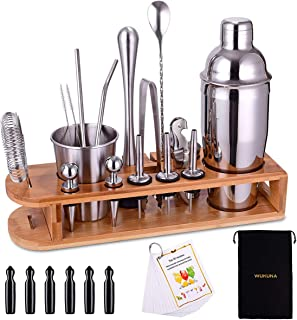 Cocktail Shaker Set Bartender Kit 26-Piece Stainless Steel Bar Tool Set with Bamboo Stand,Home Cocktail tool with All Bar ...