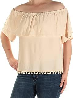kensie Women's Off-The-Shoulder Flounce Pom-Pom Top