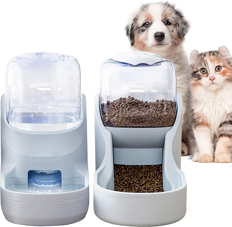 XingCheng-Sport Alimentador automático para Mascotas pequeñas y Medianas. Alimentador automático y dispensador de Agua 3.8L (Gray tkc)