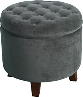 HomePop Velvet Button Tufted Round Storage Ottoman with Removable Lid, Dark Gray