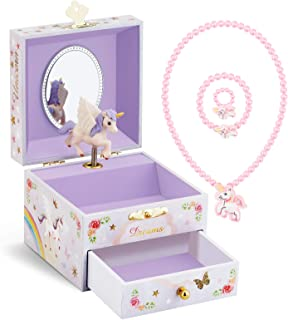 Sponsored Ad - RR ROUND RICH DESIGN Kids Musical Jewelry Box for Girls with Drawer and Jewelry Set with Brave Unicorn - Be...