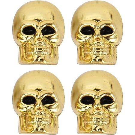 4 Stück Pkw Ventil Av Autoventil Schrader Kunststoff Ventilkappen Auch Geeignet Für Motorrad Fahrrad Totenkopf Schädel Skull Design In Gold Auto