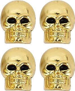 4 Stück PKW Ventil / AV – Autoventil / Schrader / Kunststoff Ventilkappen auch geeignet für Motorrad & Fahrrad / Totenkopf Schädel Skull Design in gold