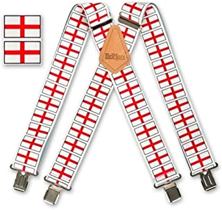 "Mens Braces Chequered Flag Brimarc Heavy Duty 2/"" 50mm Red"