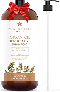 Argan Oil Shampoo, 16 oz, Made With Organic Ingredients, Restorative for all Hair Types, Color-Safe Shampoo, Sulfate & Paraben Free by Essential Oil Labs