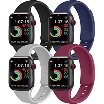 [Pack 4] Compatible with Apple Watch Bands 44mm 42mm for Women Men, Soft Silicone Bands Compatible with iWatch Series 6 5 4 3 2 1 & SE (Black/Navy Blue/Gray/Wine red, 42mm/44mm-S/M)