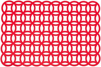 LinenTablecloth Felt Geometric Placemats (2 Pack), Red
