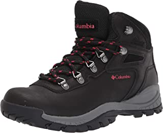 Columbia Women's Newton Ridge Plus Hiking Boot, Black/Poppy Red, 10 Regular US