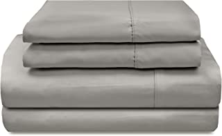 Veratex Supreme Sateen 300 Thread Count Solid Designed 4 Piece Bedroom Sheet Set, Full Size, Gray