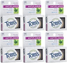 Tom's of Maine Natural Waxed Antiplaque Flat Floss, Dental Floss, Natural Floss, Spearmint, 32 Yards, 6-Pack