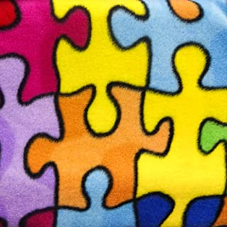 """Autism Multicolor Jigsaw Puzzle Anti Pill Fleece Fabric, 60"""" Inches Wide – Sold By The Yard"""