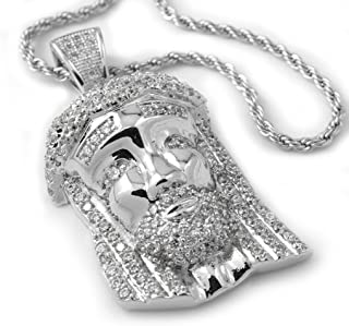 18K White Gold Plated CZ Iced Mini Jesus Piece Pendant with Rope Chain