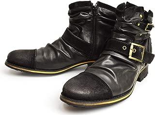 [ジーノ] ドレープ エンジニアブーツ ショートブーツ ワークブーツ ブーツ サイドジップ メンズ 靴