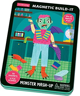 Mudpuppy Monster Mash-Up Magnetic Build-It – Ages 4+ - Play Set with 4 Backgrounds, 70+ Mix and Match Magnets –Great for Travel, Quiet Time – Magnets Adhere to Tin Package