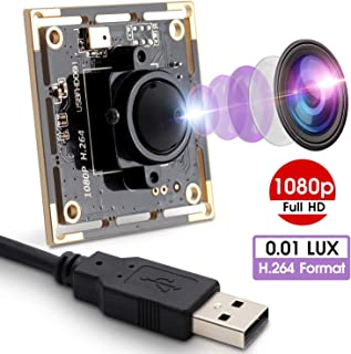 2MP Webcam 1080P USB Camera Module with Sony IMX322 Sensor Webcamera 0.01Lux Low Illumination Mini Camera with H.264 Format Play & Plug Free Drive USB 2.0 OTG Camera for Video Conference