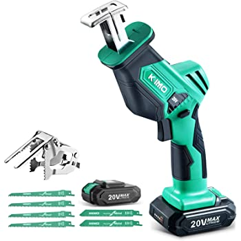 """KIMO 20V Cordless One-handed Reciprocating Saw w/Clamping Claw for Smooth Cuts, 2.0Ah Li-ion Battery, 7/8"""" Stroke Length, 6 Saw Blades for Wood/Metal/PVC Pipe Cutting, Tree Trimming, Demolition"""