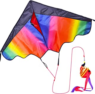 Zhuoyue Huge Rainbow Kite for Kids and Adults,Single Line Long Tail Kite Easy to Fly for Beginner, Rip-Stop Nylon Kite for The Beach Park Boys Girls Flying