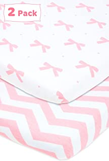 Cuddly Cubs Bassinet Sheets For Girls | Compatible with Halo Bassinet Fitted Sheet, Chicco Lullago, Ingenuity Bassinet Sheet | 2 Pack Jersey Cotton Bassinet Sheets Oval Fitted | 15 x 33 Cradle Sheets