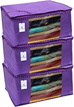 Kuber Industries 3 Piece Non Woven Saree Cover Set, Royal Blue,Large Size -CTKTC6448