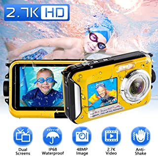 Camara Acuatica Camara Sumergibles 2.7K Full HD 48.0 MP Camara Acuatica Submergible Selfie Pantallas Dobles Camara Fotos Acuatica con Flash para Bucear